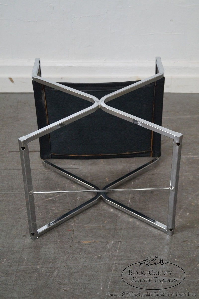 Mid Century Modern Pair of Chrome Frame Directors Arm Chairs