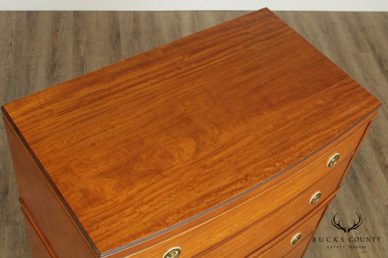 Johnson Furniture Co. Vintage 1940's Satinwood Paint Decorated Tall Chest