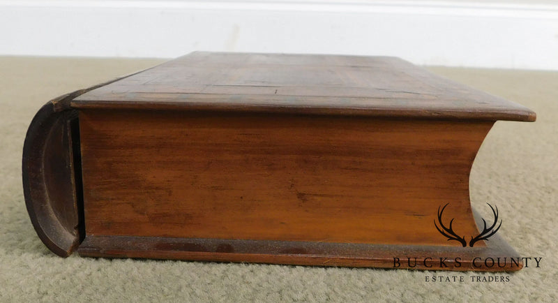 "Unusual Antique Inlaid Wood ""Book"" Box with Drawer"
