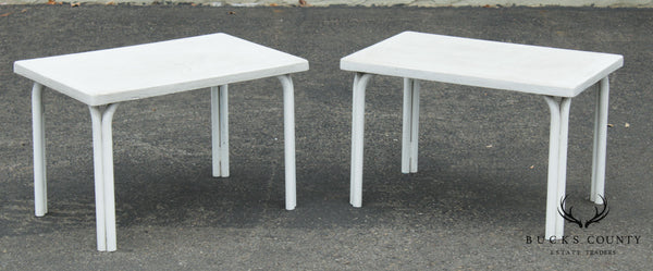 Brown Jordan Tamiami Vintage Pair White Painted Patio Side Tables
