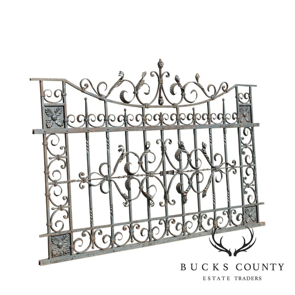 Quality Vintage Ornate Wrought Iron 8'x5' Fence/Gate Section (C)