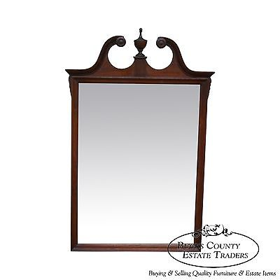 Antique 1940s Hepplewhite Style Broken Arch Top Mirror