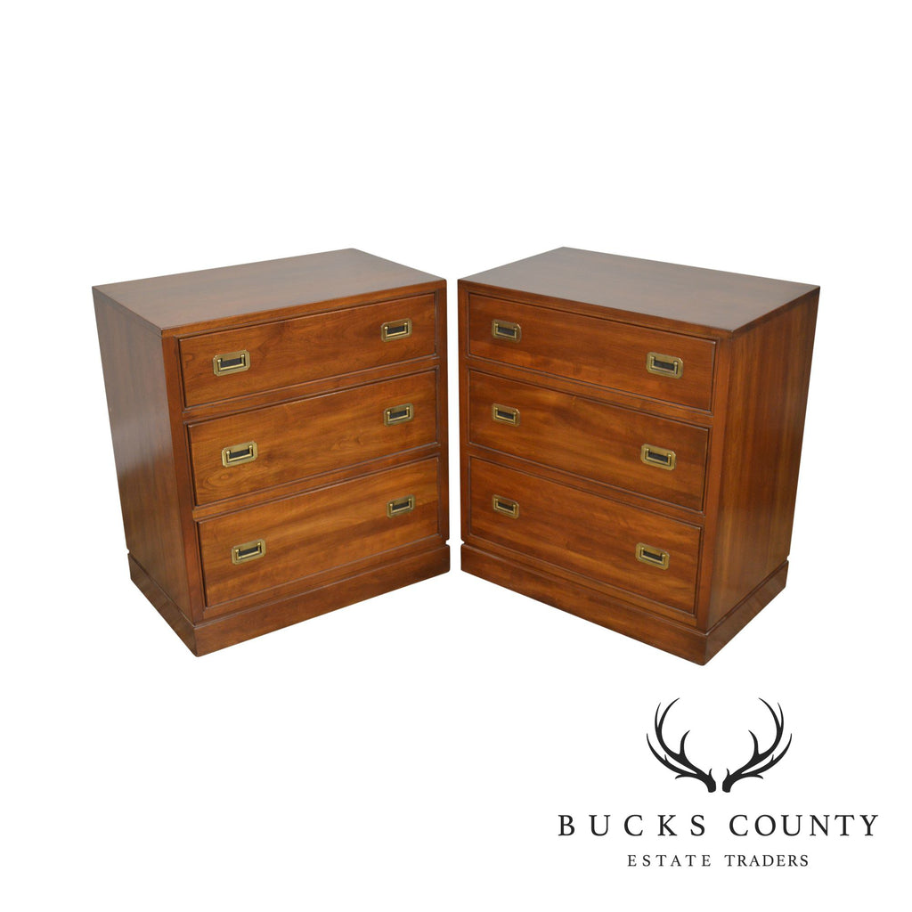 Ethan Allen Campaign Style Pair Solid Cherry 3 Drawer Chests