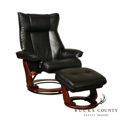 Benchmaster Black Reclining Swivel Chair with Ottoman