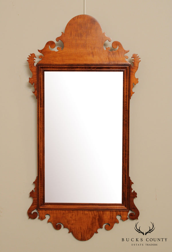 D. R. Dimes Chippendale Style Tiger Maple Wall Mirror