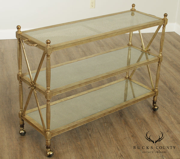 Hollywood Regency Vintage 3 Tier Faux Painted Bar Cart Etagere Server