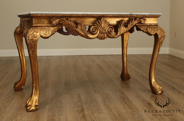 Baroque Style Giltwood Marble Top Console Table