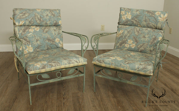Pair Vintage Grape Wrought Iron Patio Lounge Arm Chairs