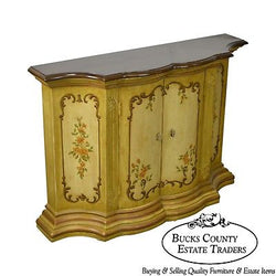 Drexel Heritage Et Cetera Paint Decorated Narrow Console Cabinet