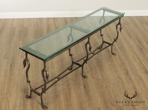 Hand Forged Steel Swan Base 72 inch Glass Top Console Table