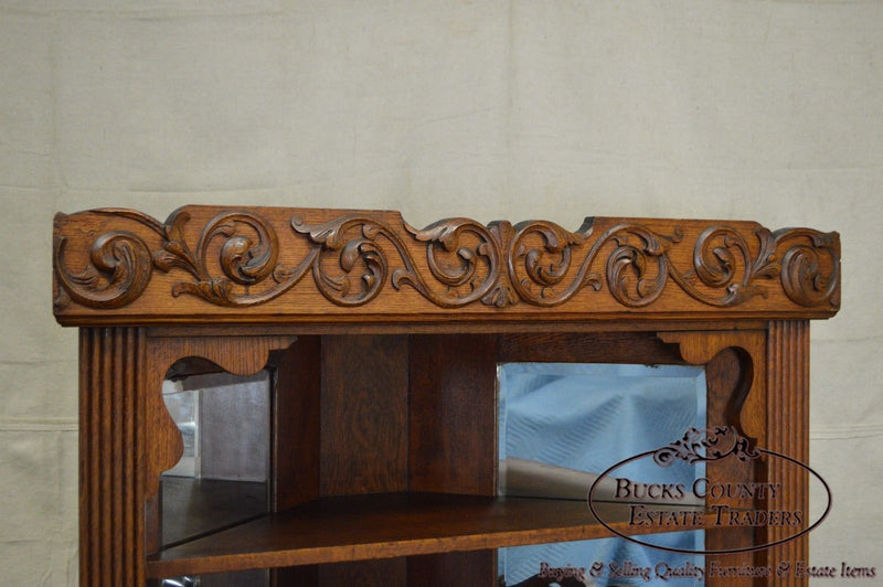 Antique Victorian Oak Corner Cabinet