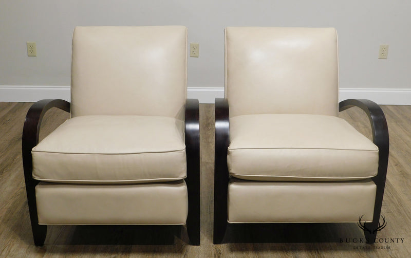 Mc Creary Modern Room & Board Art Deco Style Pair Leather Lounge Chairs