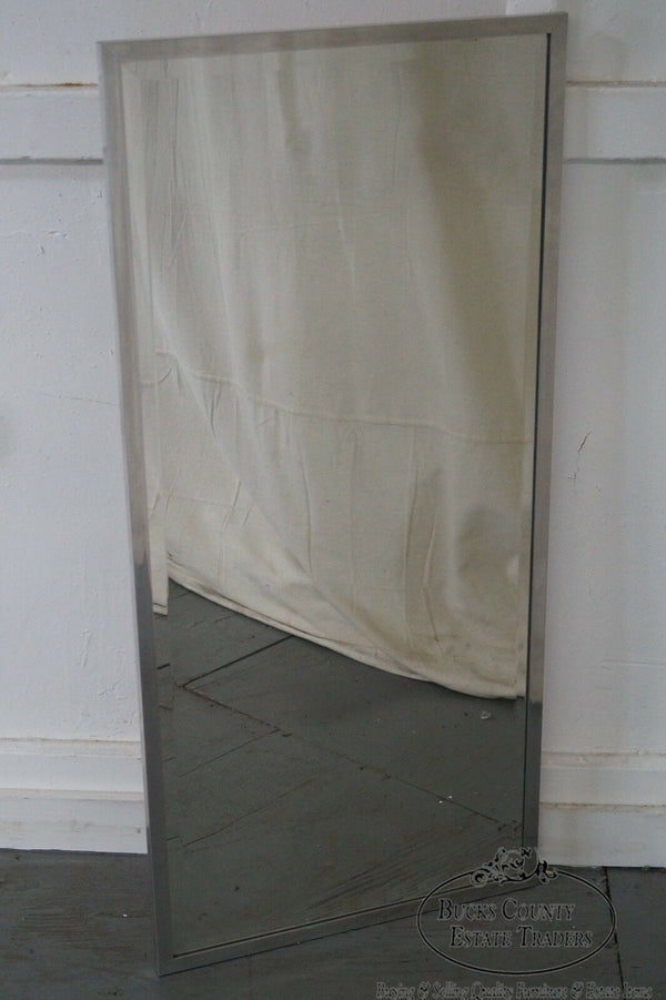 Mid Century Modern Chrome Frame Beveled Wall Mirror