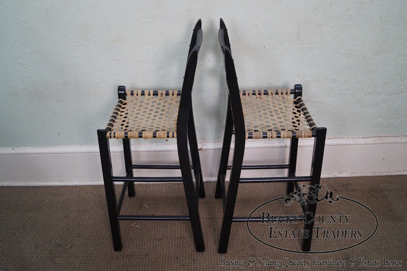 Quality Set of 3 French Country Black Painted Bar Stools w/ Woven Rawhide Seats