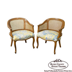 French Louis XV Style Vintage Pair of Barrel Back Caned Bergere Chairs