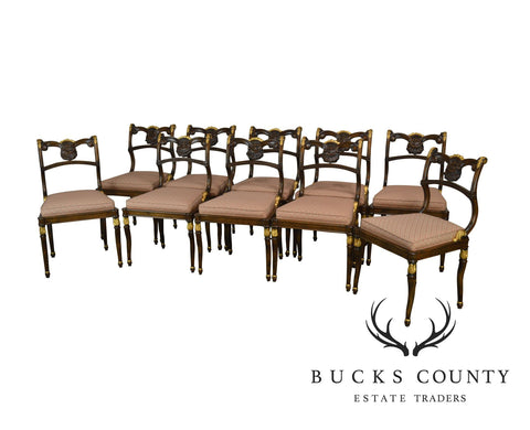 Neo-Classical Style Quality Set of 10 Partial Gilt Carved Dining Chairs