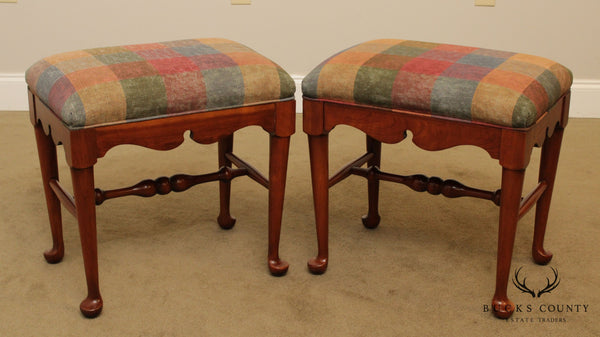 Harden Solid Cherry Pair Queen Anne Style Benches, Stools