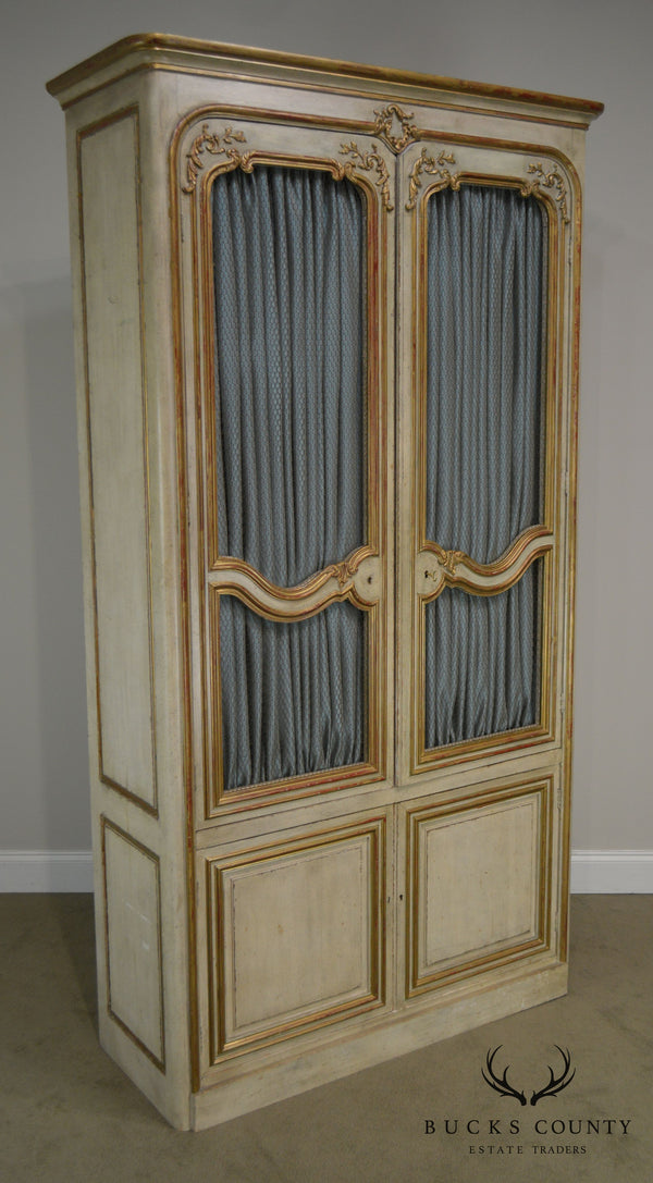 Maison Jansen French Louis XV Style Large Partial Gilt Painted Armoire Cabinet