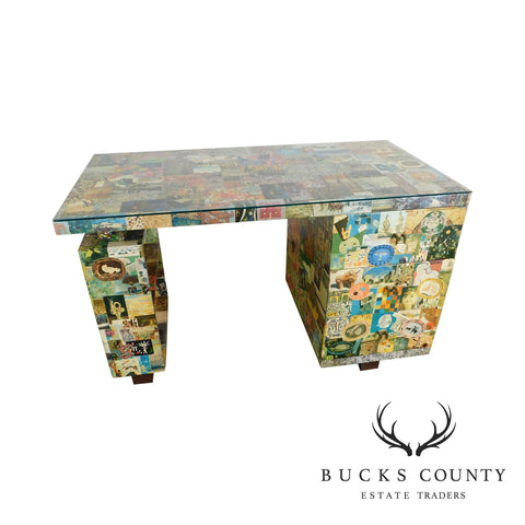 Mid Century Modern Abstract Artist Decoupage Floating Kneehole Writing Desk