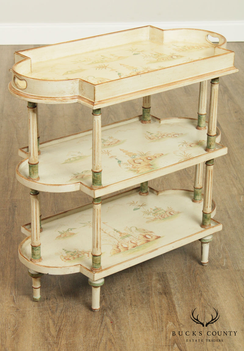Louis XVI Style Chinoiserie Painted 3 Shelf Etagere Side Table Console