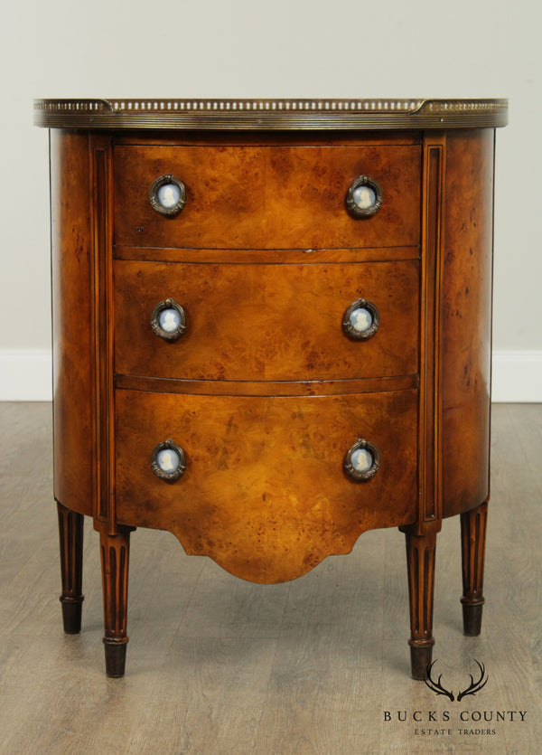 Theodore Alexander French Louis XVI Style Demilune Burl Wood Chest of Drawers