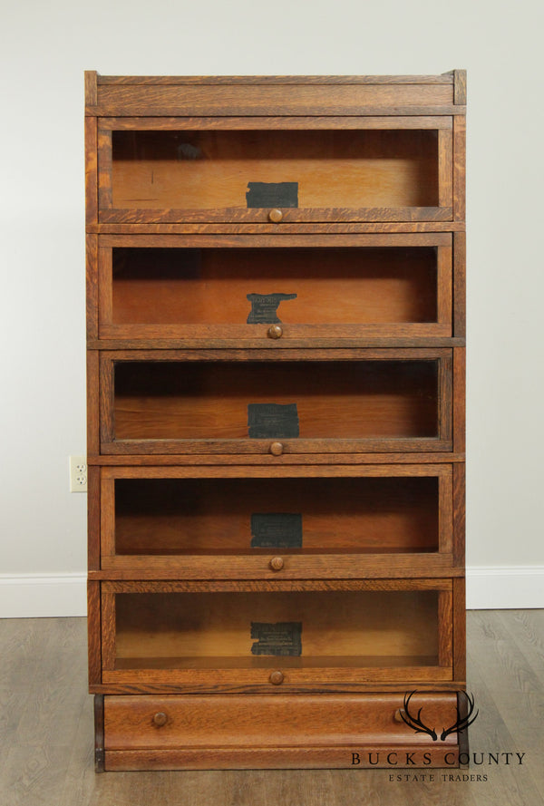 Globe Wernicke Antique Mission Oak 5 Stack Barrister Bookcase
