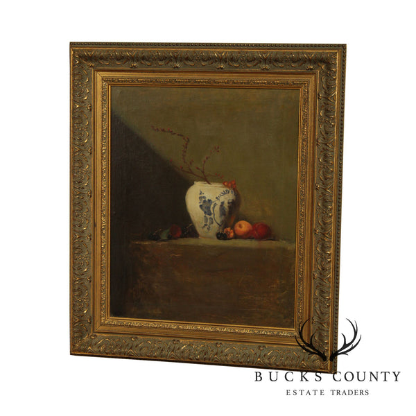 Quality Framed Still Life Oil Painting Vase With Fruit