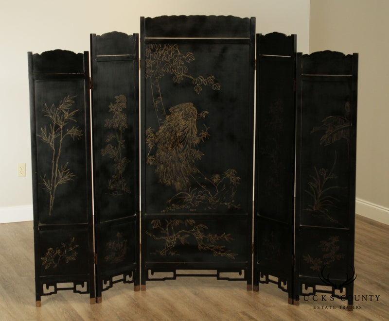Chinese Black & Gold 5 Panel Folding Screen