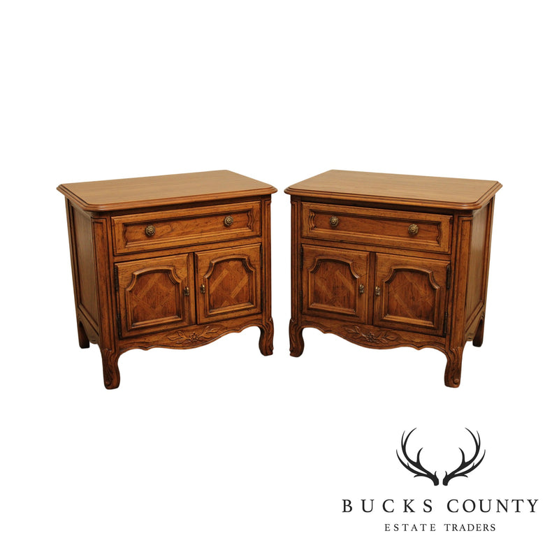 Drexel Cabernet Collection Country French Style Vintage Pair Nightstands