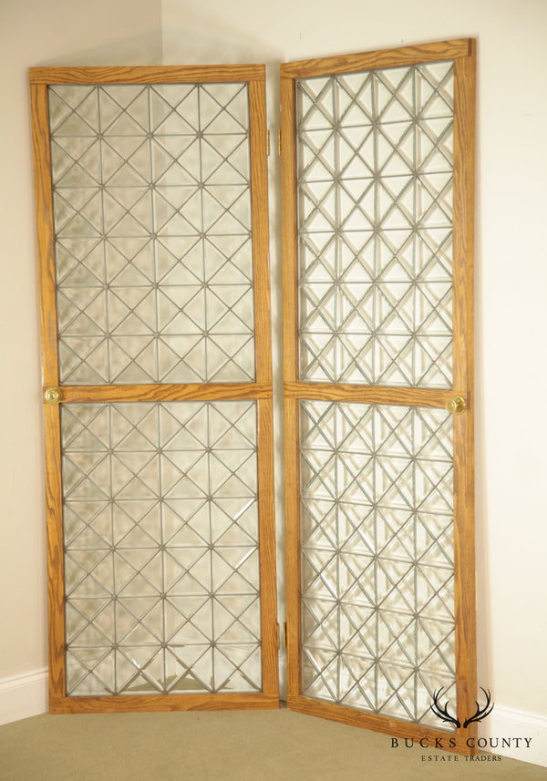 Custom Quality Pair Oak Frame Beveled Leaded Glass French Doors