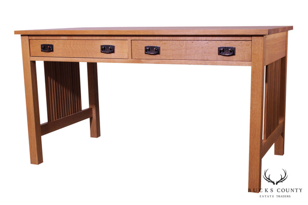 "Stickley Mission Collection Oak 54"" Spindle Library Desk (B)"