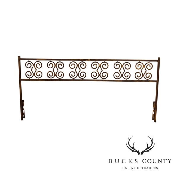 Hollywood Regency Vintage Wrought Iron King Headboard