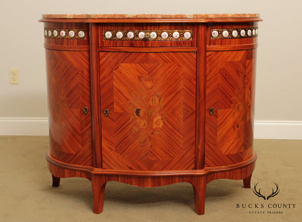 Italian Louis XV Style Marquetry Inlaid Marble Top Commode