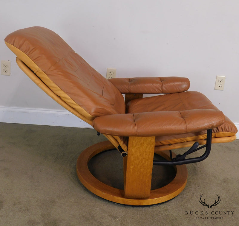 Chairworks Brown Leather Pair Swivel Recliner Lounge Chairs w Ottomans