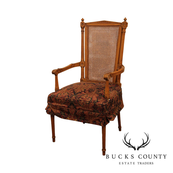 French Louis XVI Style Vintage Cane Back Armchair