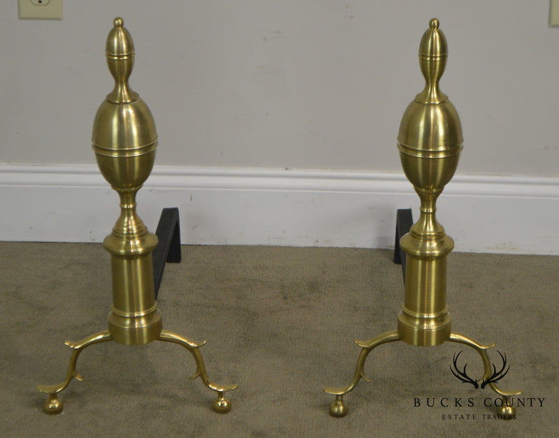 Colonial Williamsburg Virginal Metal Crafters Harvin CW 100-2 Pair Brass Andirons