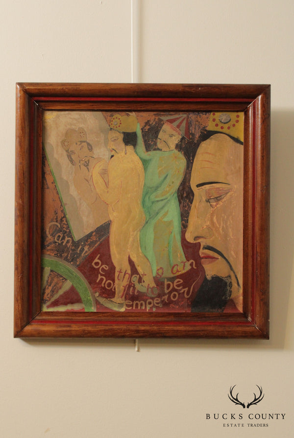 F. Natelson 1920's Signed Painting 'Can It be that I am Not Fit to be Emperor'