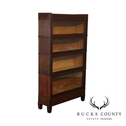 Mission Oak Antique Barrister 4 Stack Bookcase with Drawer