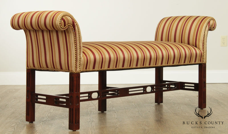 Southwood Chippendale Style Custom Upholstered Mahogany Bench
