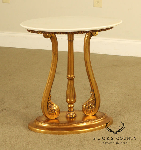 White Marble and Gilded Wood Hollywood Regency Petite Oval Side Table