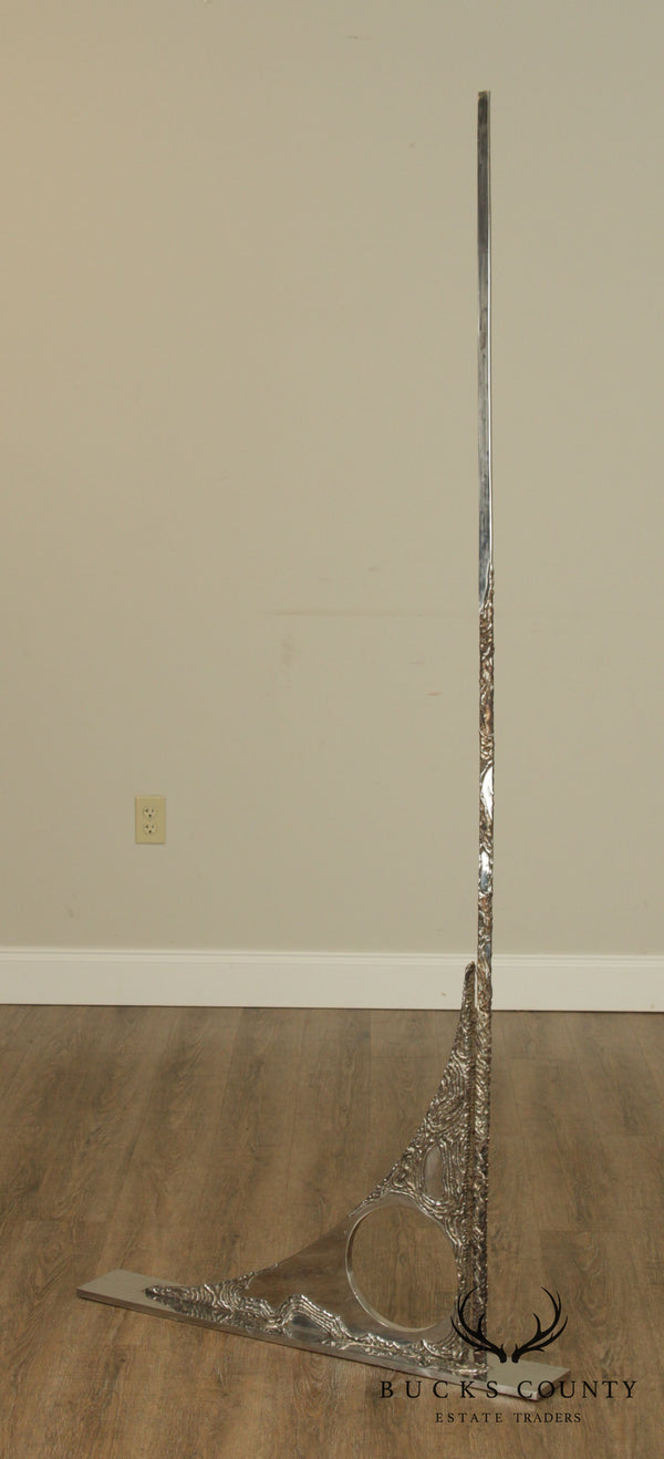 "Mid Century Modern Abstract Chromed Steel 76"" Tall Sculpture"
