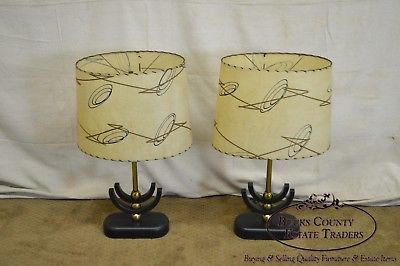 1950s Pair of Mid Century Modern Atomic Style Table Lamps w/ Shades