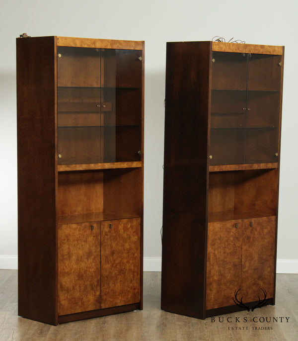 Mid Century Pair Burl Wood Glass Door Bookcase Display Cabinets