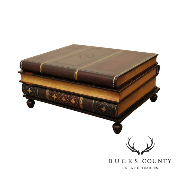 Maitland Smith Faux Stacked Leather Books Coffee Table
