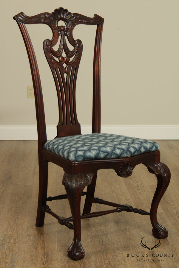 Antique American Chippendale Revival Carved Mahogany Side Chair