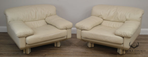 Marco Zani 1980's Postmodern Pair Off White Leather Lounge Chairs (B)