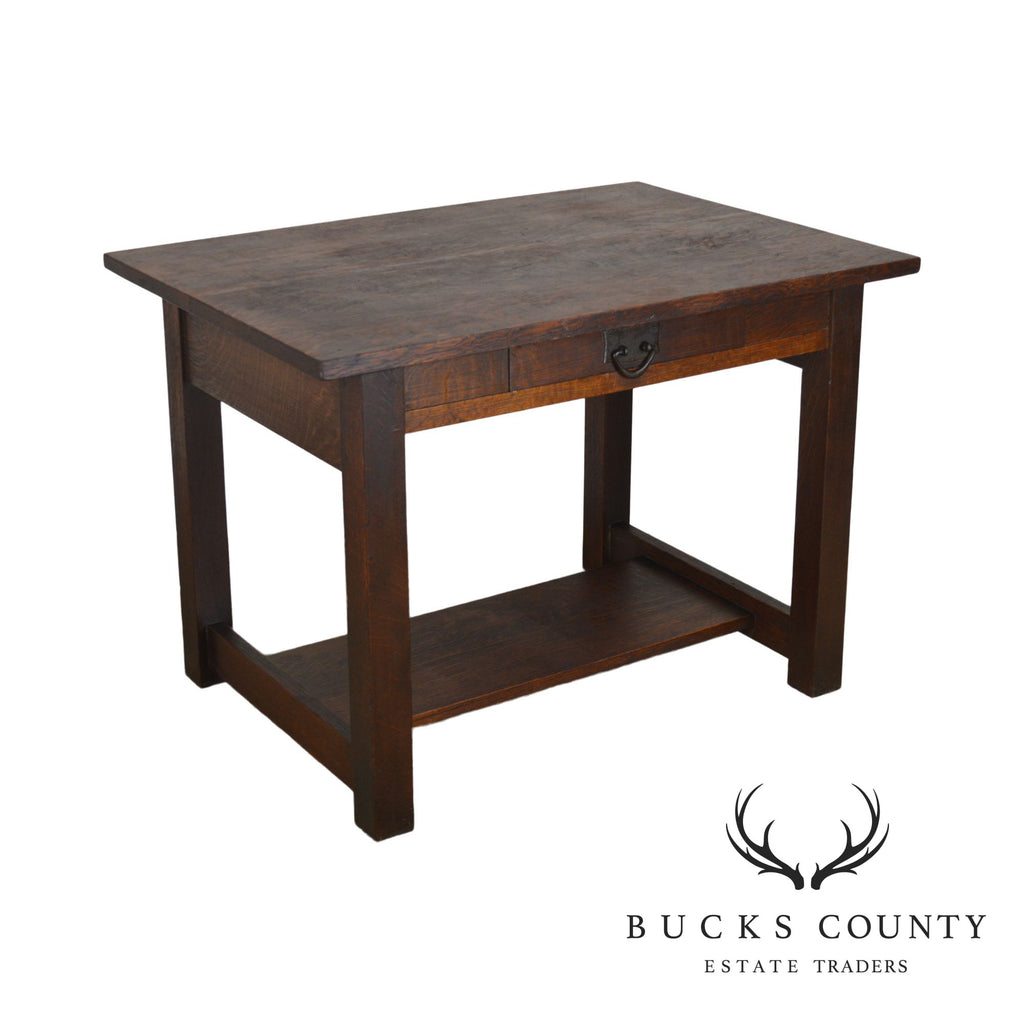 Pleasing Mission Oak Antique One Drawer Table Writing Desk Possibly Stickley Bralicious Painted Fabric Chair Ideas Braliciousco