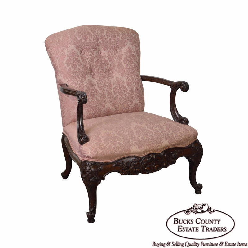 Georgian Style 1920s Carved Mahogany Library Arm Chair