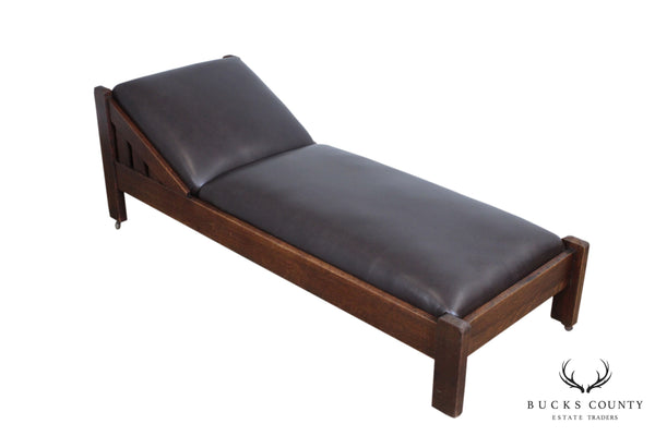 J. M. Young Antique Mission Oak & Brown Leather Daybed