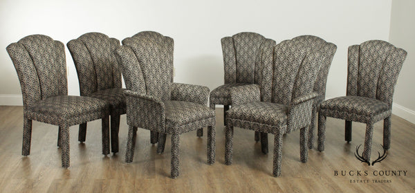 Art Deco Style Custom Upholstered Set 8 Channel Back Parsons Dining Chairs